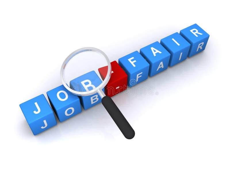 Job fair illustration. An illustration of letter block forming the word job fair under a magnifying glass vector illustration