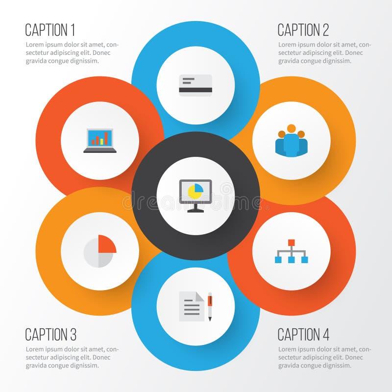 Job Flat Icons Set Colección de diagrama, de contrato, de pago y de otros elementos También incluye símbolos tal como la empanada stock de ilustración