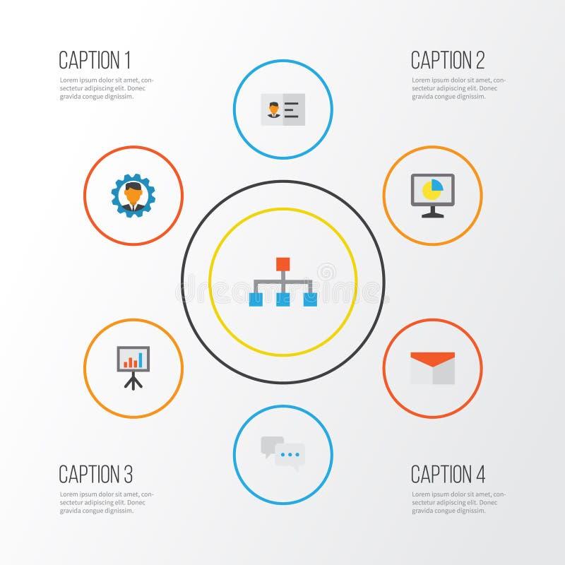 Job Flat Icons Set Sammlung Entwickler, Hierarchie, Statistiken und andere Elemente Schließt auch Symbole wie Identifikation ein stock abbildung