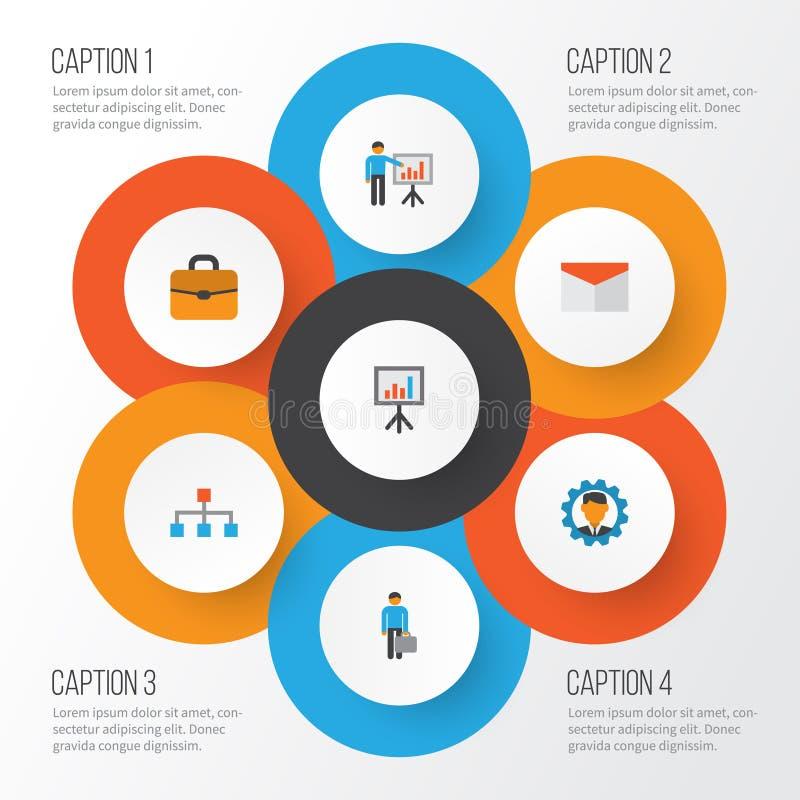 Job Flat Icons Set Sammlung Hierarchie, Koffer, Arbeits-Mann und andere Elemente Schließt auch Symbole wie ein lizenzfreie abbildung