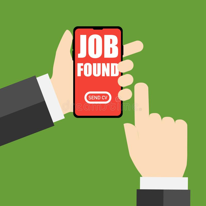Job found apply for mobile phone application. Job found apply for it mobile phone application royalty free illustration
