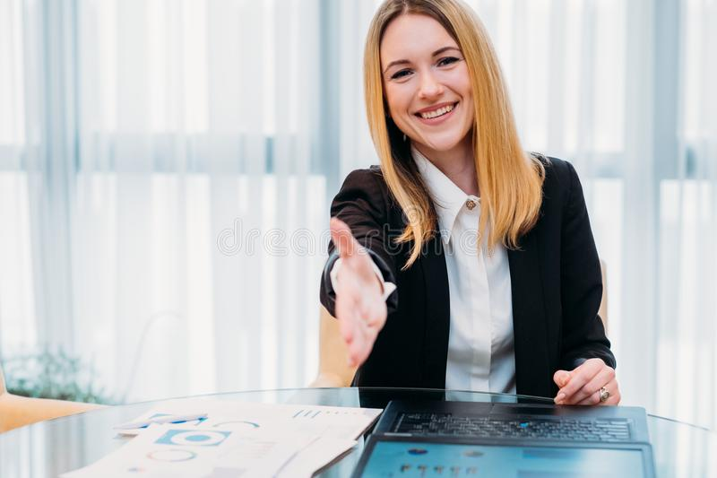 Job hiring career recruiter hr hand employment. Job hiring. employment agreement. new professional career beginning. recruiter or hr holding out a hand in stock photography