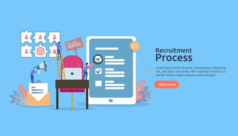 Job hiring, online recruitment concept. empty chair people character. agency interview. select resume process. template for web. Landing page, banner royalty free illustration