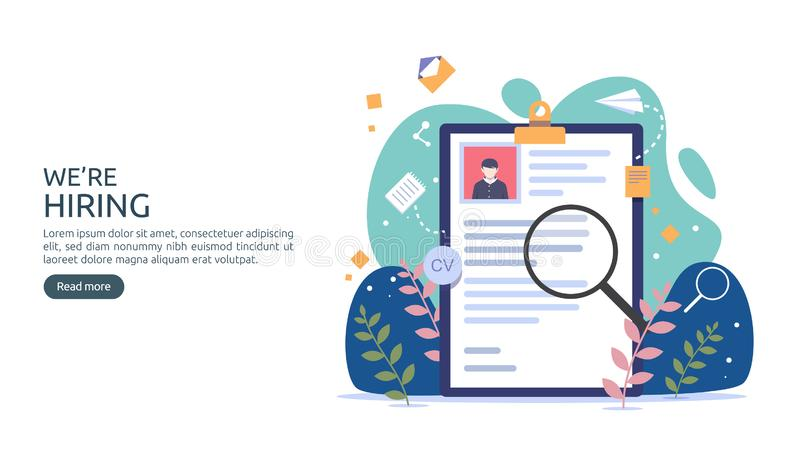 Job hiring and online recruitment concept with tiny people character. agency interview. select a resume process. template for web royalty free illustration