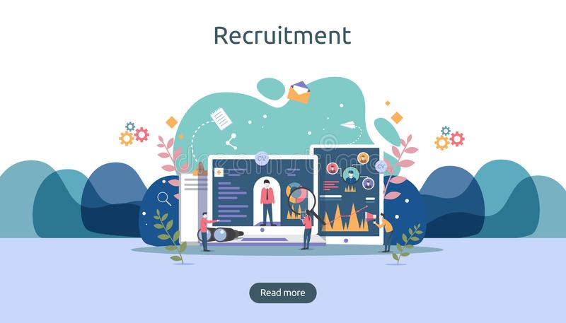 Job hiring and online recruitment concept with tiny people character. agency interview. select a resume process. template for web. Landing page, banner stock illustration