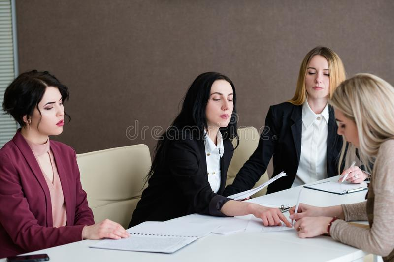 Job hiring woman sign agreement career interview royalty free stock image