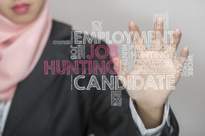 Job Hunting wordcloud arkivfoton