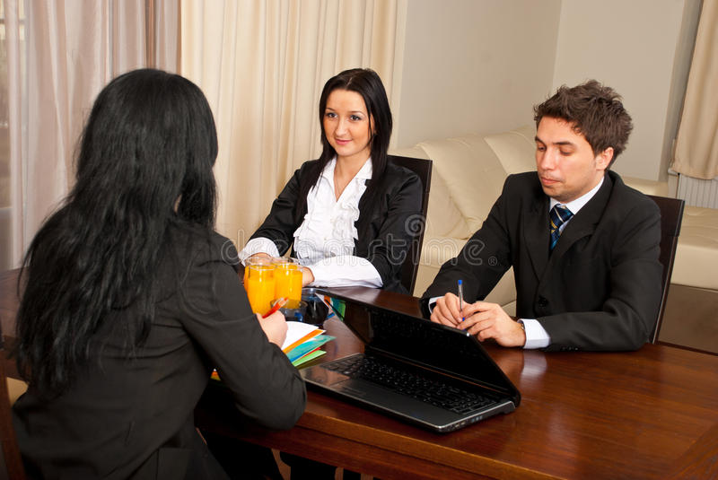 Job interview. Business people having a job interview and discuss with manager royalty free stock photo