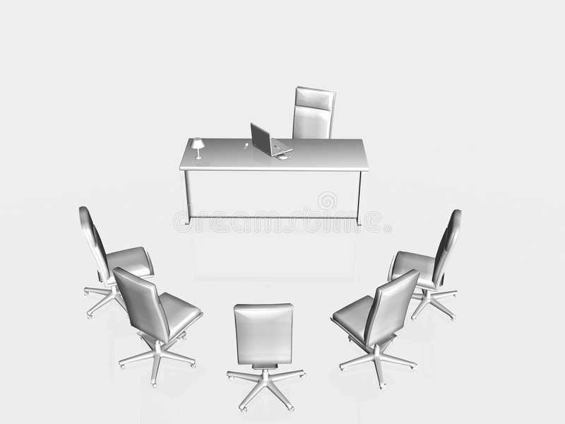 Job interview, application. Top view on a bureau and chairs with laptop, having a job interview. Application, concept, copy space, clipping path royalty free illustration