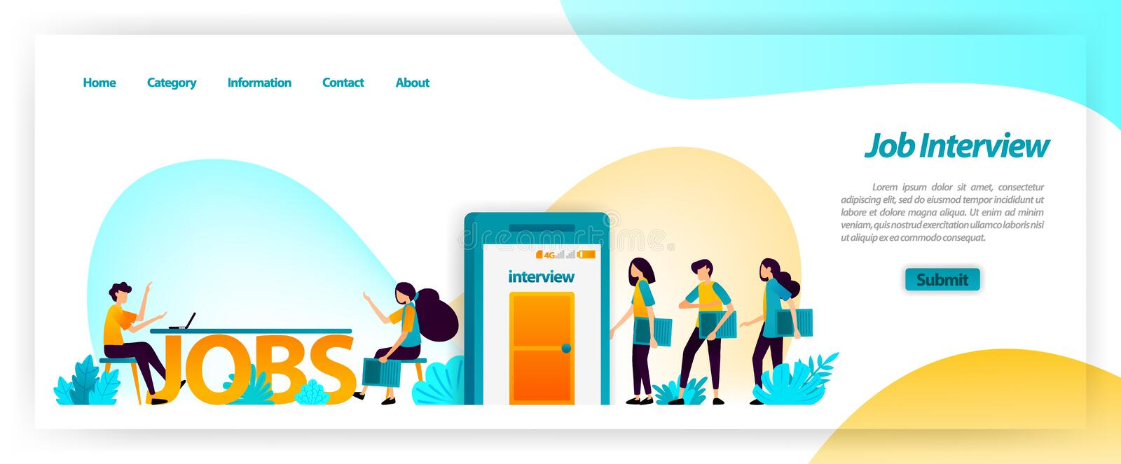 Job interview application in getting best young workers for company team. get, find and recruit and hiring employees. vector illus. Tration concept for landing stock illustration