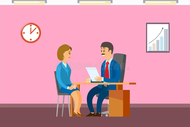Job Interview with Boss, Hiring New Office Worker. Woman talking with man to get post in financial company, vacancy or employment vector illustration vector illustration
