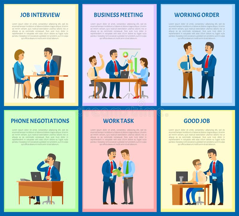 Job Interview and Business Meeting of Workers. Vector. Negotiations on mobile phone, leader giving task to employee. Candidate and boss with resume royalty free illustration