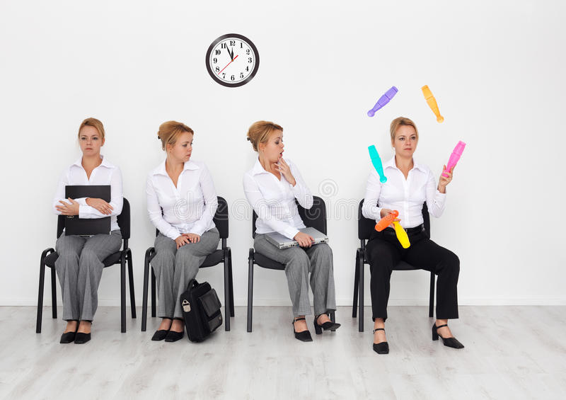 Job interview candidates with special abilities stock image