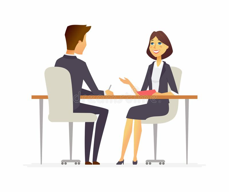 Job interview - cartoon people character isolated illustration. Job interview - cartoon business people character isolated illustration on white background. An royalty free illustration