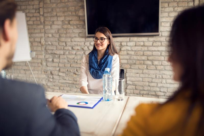Job interview in company stock photos