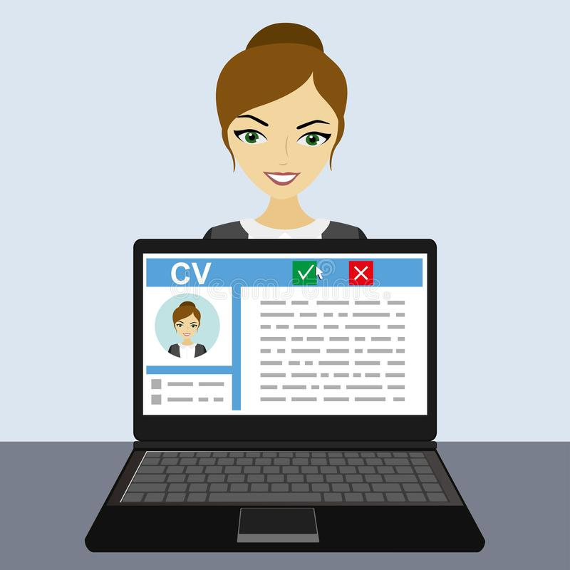 Job interview concept with business cv resume. Young caucasian businesswoman or office worker,flat design, vector illustration stock illustration
