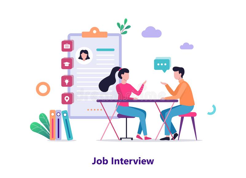 Job interview. Conversation between employer and candidate. Idea of recruitment and career. Conversation between person. Isolated vector illustration in flat stock illustration