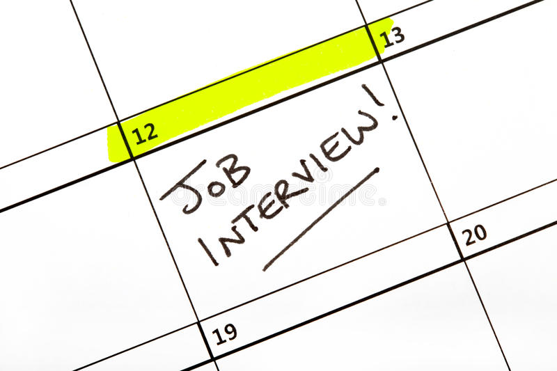 Calendar Photography Jobs : Job interview date on a calendar stock photo image of