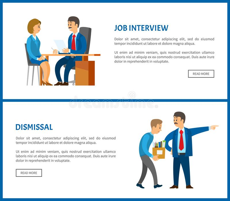 Job Interview and Dismissal Worker, Vector Poster. Job interview and dismissal of worker vector web poster. Boss in suit and mustaches dismissing employee with vector illustration