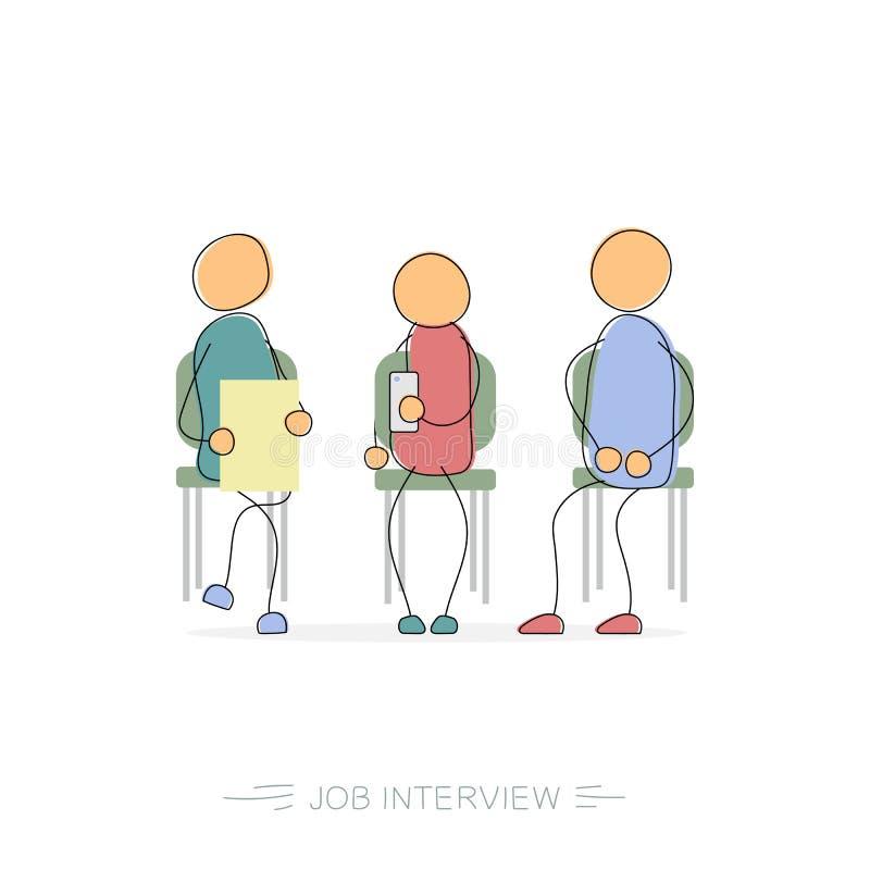 Vector Drawing Lines Job : Job interview drawing man stock illustration