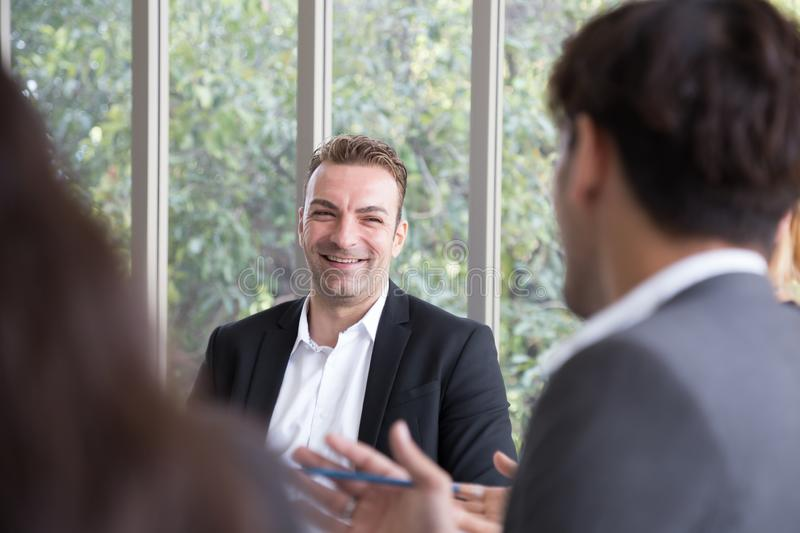 Job interview, Friendly businessman interviewing royalty free stock images
