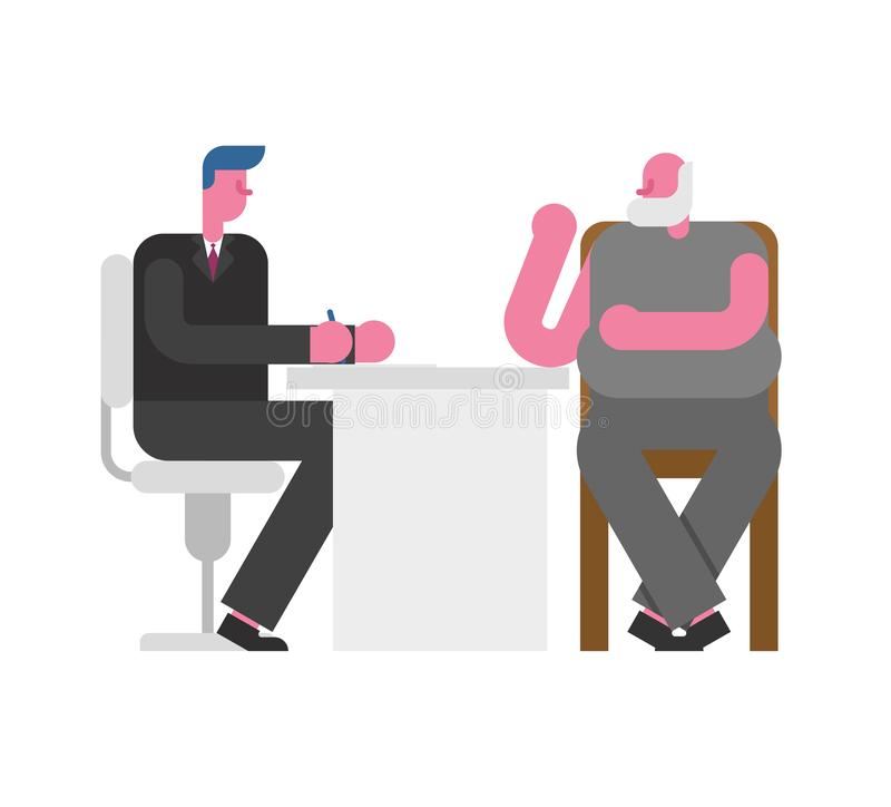 Job Interview Grandfather. Boss and employee old man. businessman listen to candidate pensioner. employment Vector illustration stock illustration