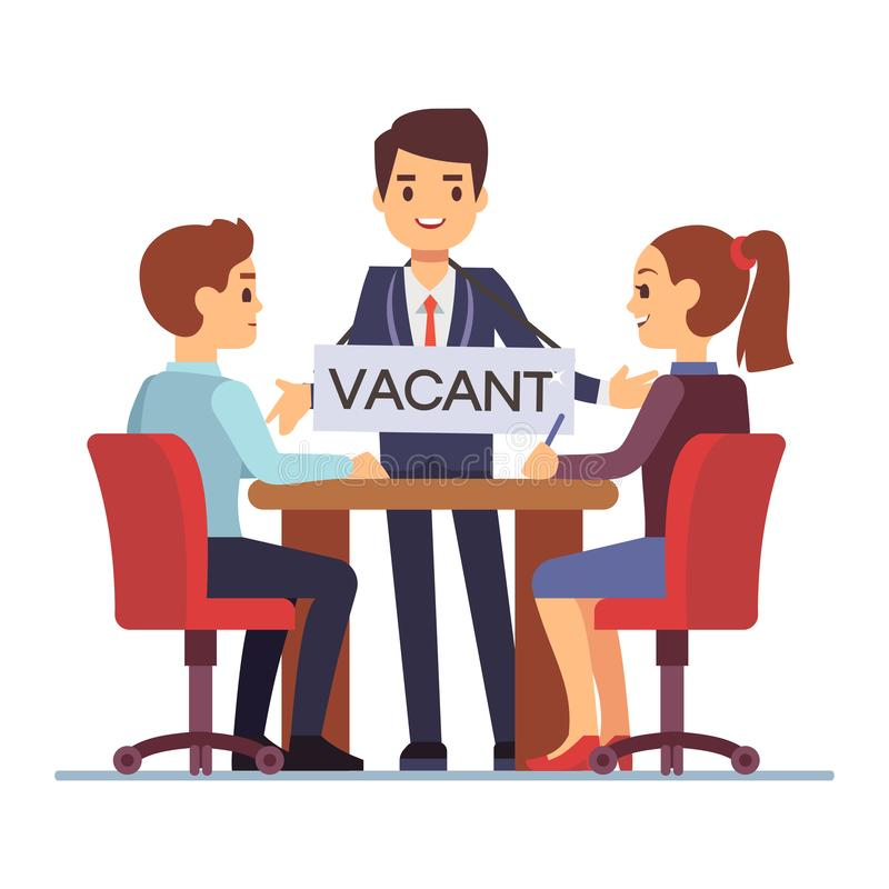 Job interview with hr managements man with table vacant. Job interview with hr managements and man with table vacant. Vector illustration royalty free illustration