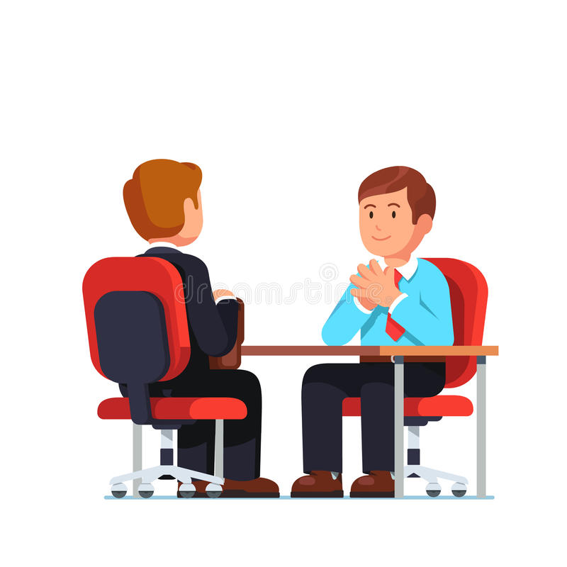Job interview between HR officer and candidate. Employee and boss meeting sitting opposite at desk holding hands in raised steeple gesture. Job interview between stock illustration