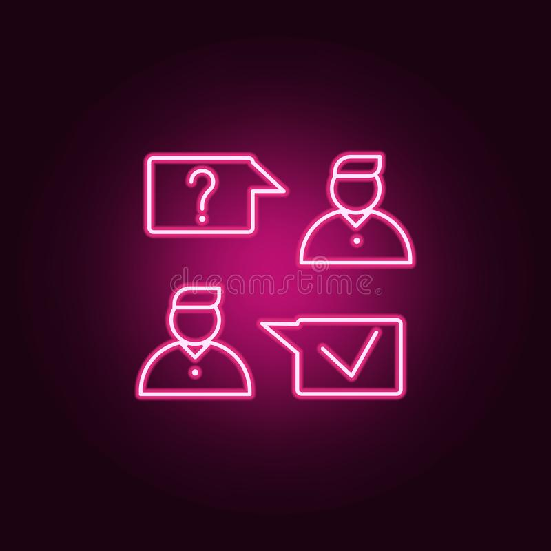 Job interview icon. Elements of interview in neon style icons. Simple icon for websites, web design, mobile app, info graphics. On dark gradient background royalty free illustration