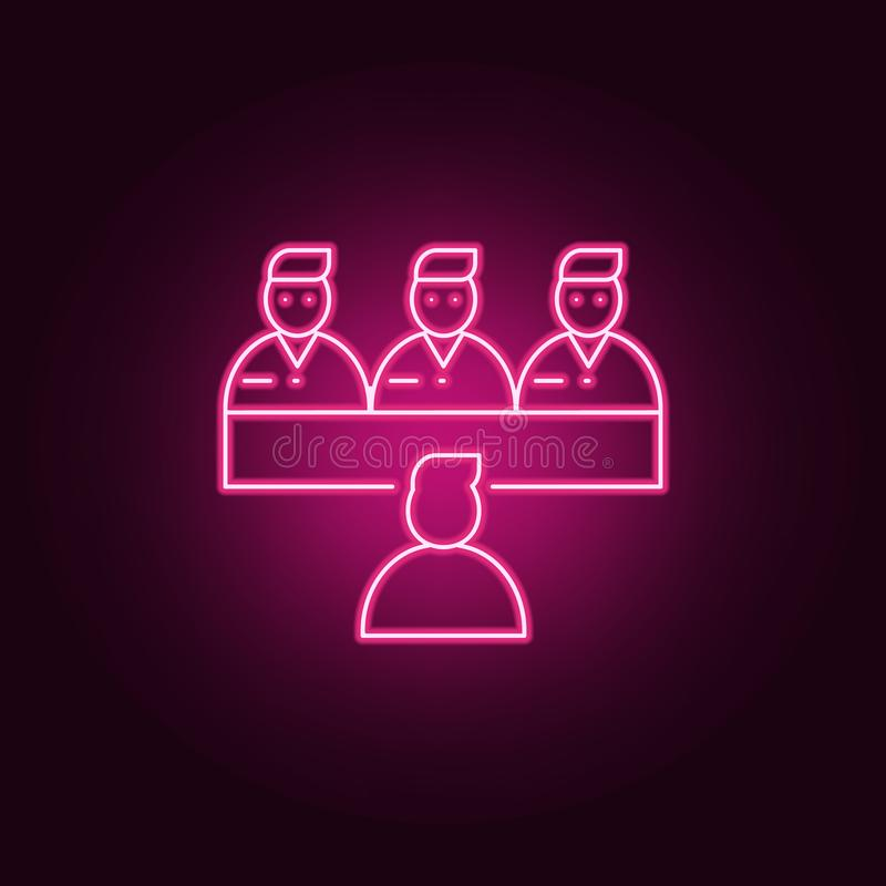 job interview icon. Elements of interview in neon style icons. Simple icon for websites, web design, mobile app, info graphics vector illustration