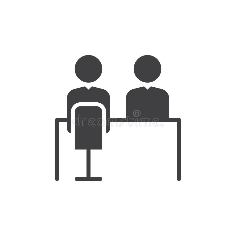 Job interview icon vector, filled flat sign, solid pictogram isolated on white. Symbol, logo illustration. stock illustration