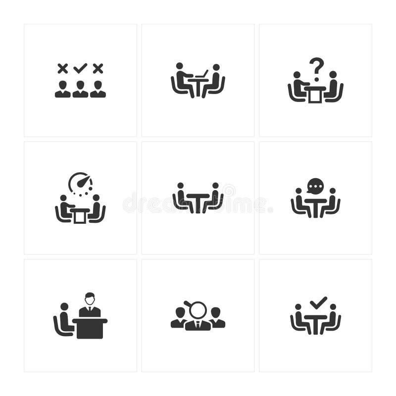 Job Interview Icons - Gray Version royalty free illustration
