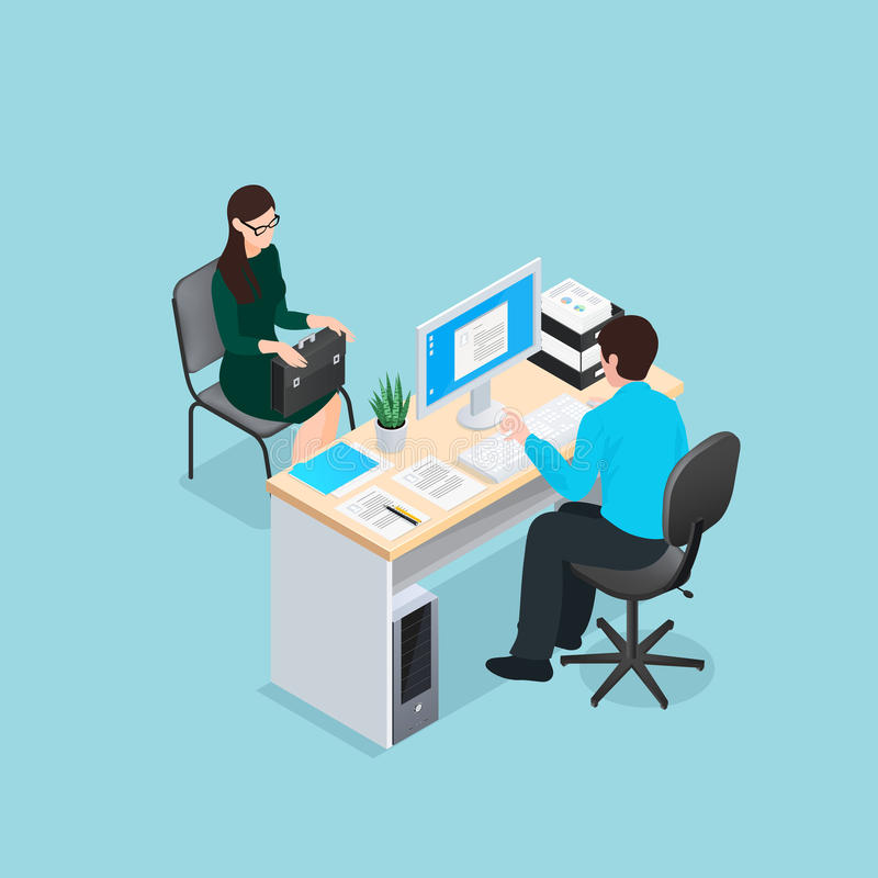 Job Interview Isometric Illustration vector illustration