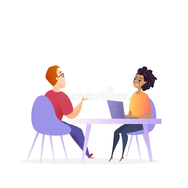 Job Interview Meeting. Hr Manager Vector Character vector illustration