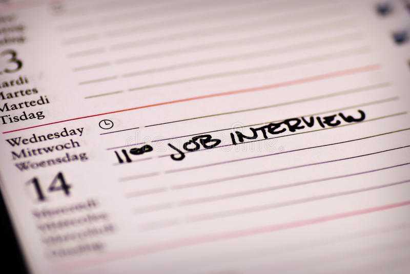Job interview note stock images