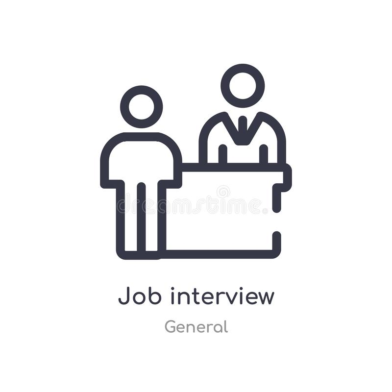 Job interview outline icon. isolated line vector illustration from general collection. editable thin stroke job interview icon on. White background royalty free illustration