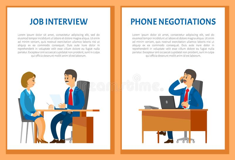 Job Interview and Phone Negotiations Vector. Poster. Boss leader speaking on telephone, conversation with client in support center. Hiring person on new vector illustration