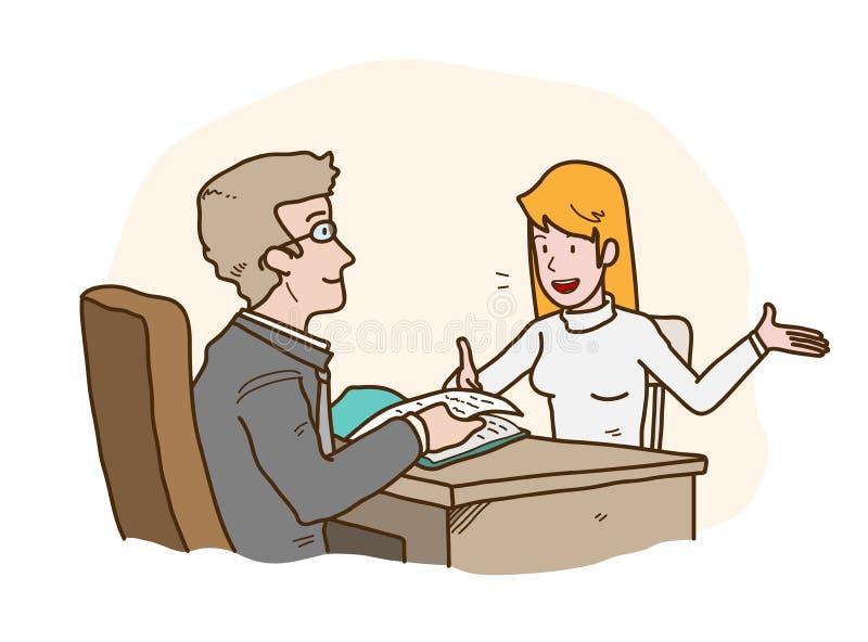 Job Interview Presentation, eine Hand gezeichnete Vektorkarikaturillustration eines Arbeitssuchenden, der zum HRD-Manager sich vo vektor abbildung
