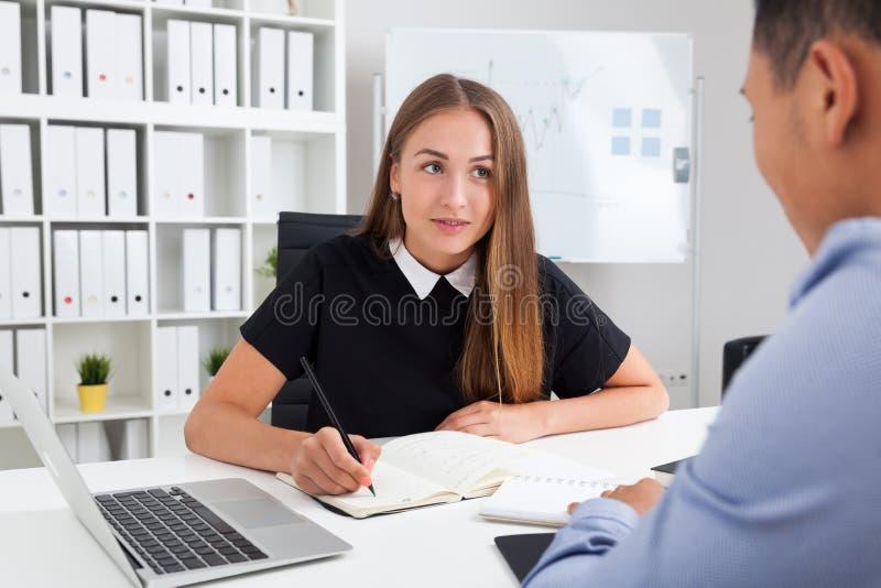 Job interview in progress stock photography