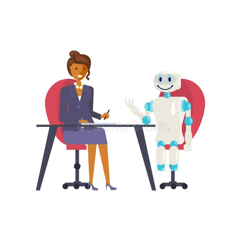 Job interview with real people and robot. In flat design. Concept business technological revolution. Vector illustration eps 10 vector illustration