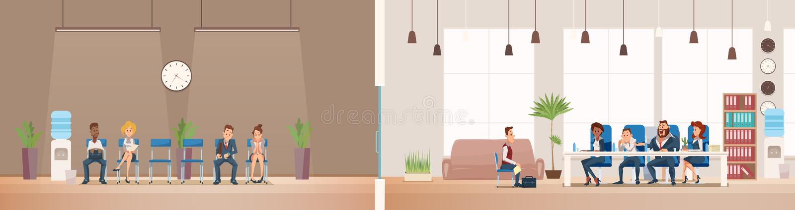 Job Interview and Recruiting. Vector Illustration. Job Interview and Recruiting. Human Resources Interview Recruitment Job Concept. People sitting in Office stock illustration