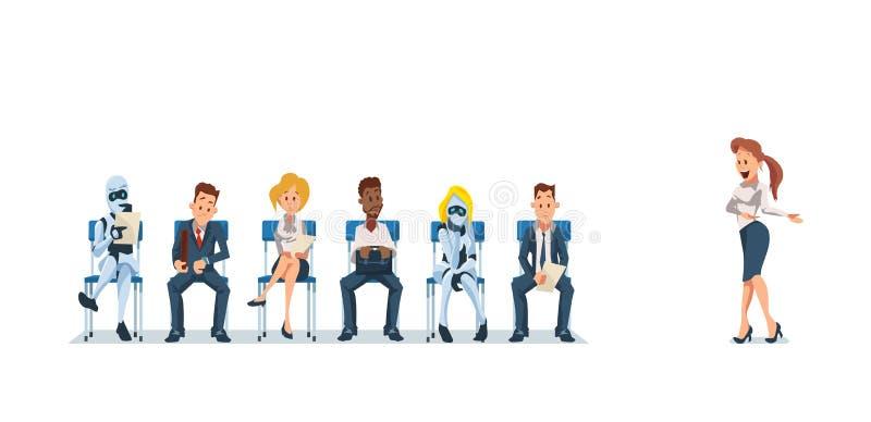 Job Interview Recruiting och robotar vektor royaltyfri illustrationer
