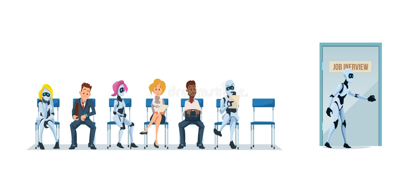 Job Interview Recruiting and Robots. Vector. Job Interview Recruiting and Robots. Human Resources Interview Recruitment Job Concept. Modern Technologies in royalty free illustration