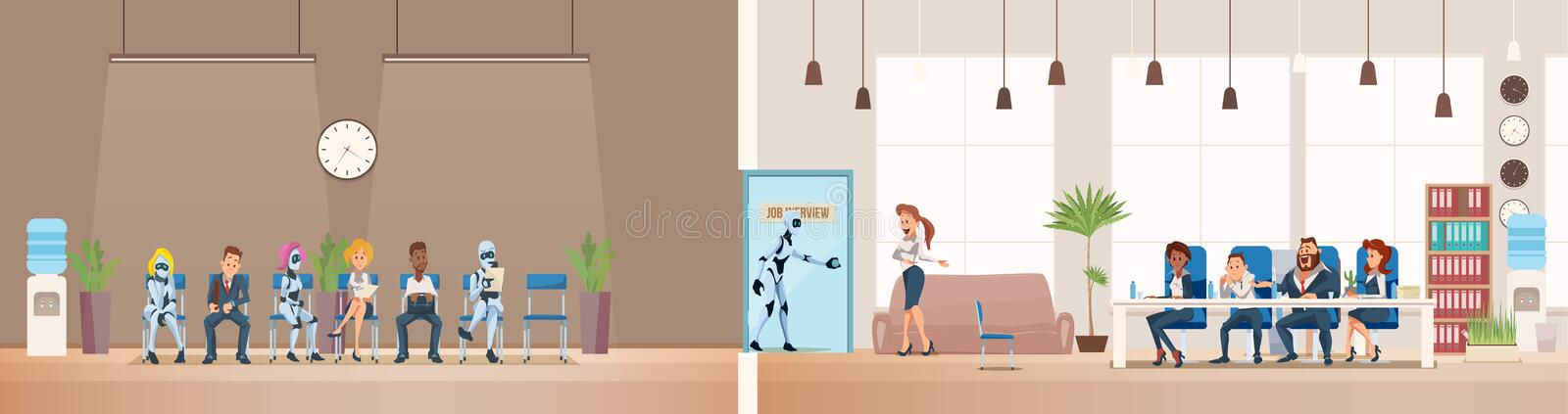 Job Interview Recruiting and Robots. Vector. Job Interview Recruiting and Robots. Human Resources Interview Recruitment Job Concept. Modern Technologies in vector illustration
