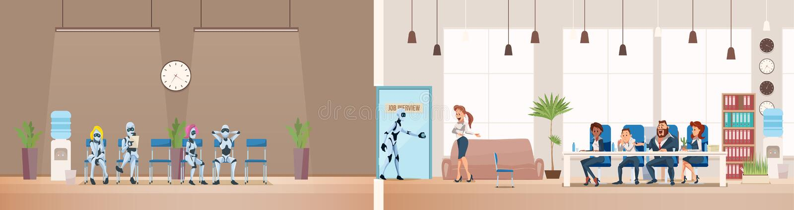 Job Interview Recruiting and Robots. Vector. Job Interview Recruiting and Robots. Human Resources Interview Recruitment Job Concept. Modern Technologies in stock illustration