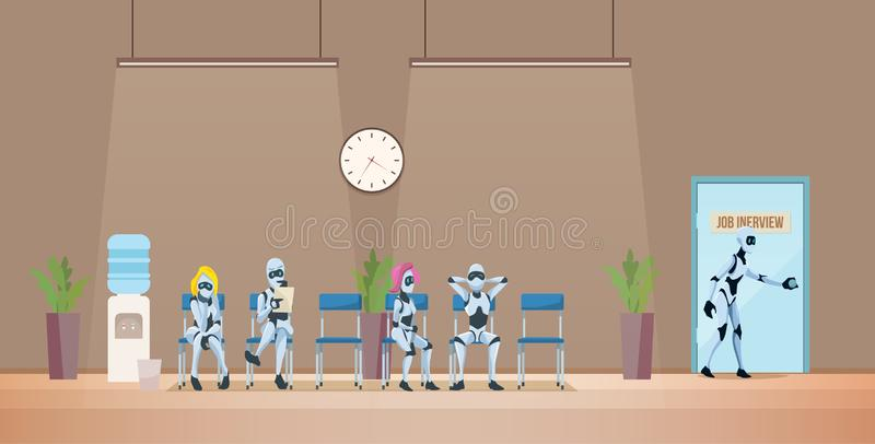 Job Interview Recruiting and Robots. Vector. Job Interview Recruiting and Robots. Modern Technologies and Artificial Intelligence in Office. Recruitment Banner stock illustration