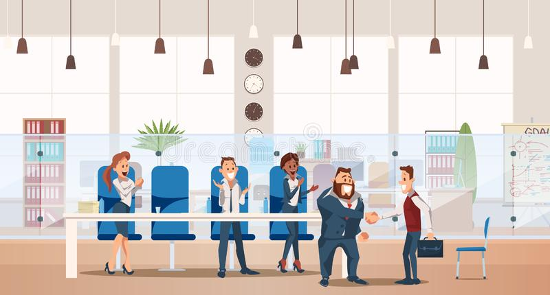 Job Interview and Recruiting. Vector Illustration. Job Interview and Recruiting Concept. Human Resources in Office. Teamwork during Interview. People Work in vector illustration