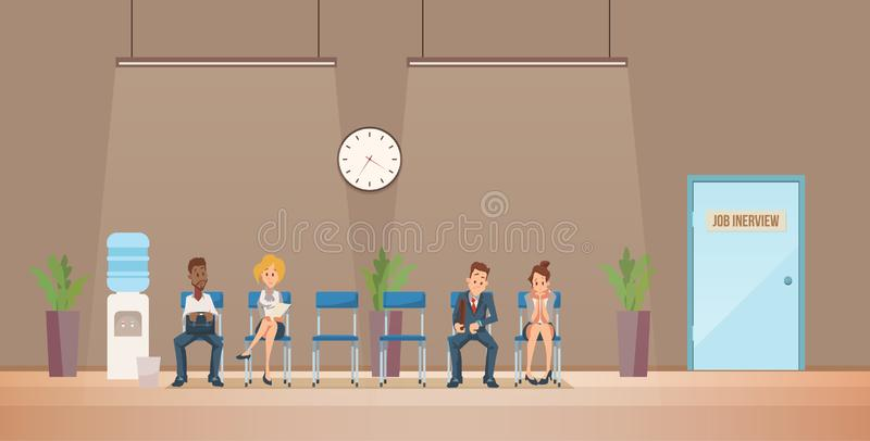 Job Interview and Recruiting. Vector Illustration. Job Interview and Recruiting. Human Resources Interview Recruitment Job Concept. People sitting in Office royalty free illustration