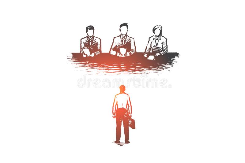 Job, interview, recruitment, employee, hr concept. Hand drawn isolated vector. Job, interview, recruitment, employee, hr concept. Hand drawn candidate on job stock illustration