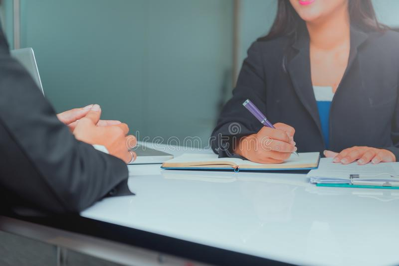 Job interview for recruitment process and new team member. royalty free stock photo